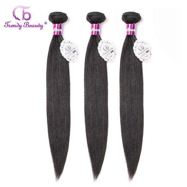 Trendy Beauty Hair Indian Straight Human Hair Bundles 100g/pc Can Buy 3 or 4 Pcs Non Remy Hair Natural 1B Color Can Be Dyed