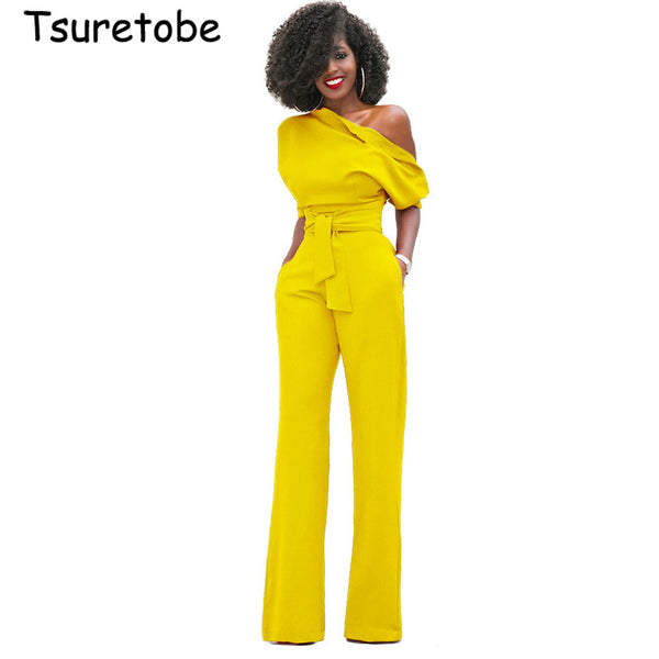 Tsuretobe New Fashion Off the Shoulder Elegant Jumpsuits Women Plus Size Rompers Womens Jumpsuits Short Sleeve Female Overalls