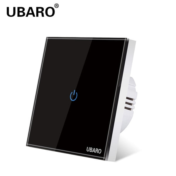 UBARO EU AC100-240 Tempered Black White  Crystal Glass Touch Switch Power Led Panel Wall Light Switches 1/2/3 Gang  Interruttore