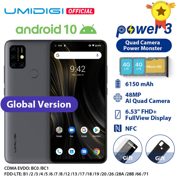 "UMIDIGI Power 3 Android 10 48MP Quad AI Camera 6150mAh 6.53"" FHD+ 4GB 64GB Helio P60 Global Version Smartphone NFC In Stock"