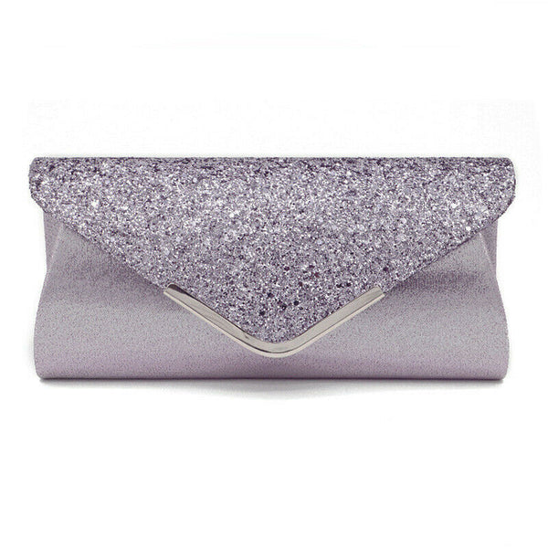 US STOCK Women Glitter Shimmer Clutch Bag Ladies Wedding Party Chain Purse Evening Bag
