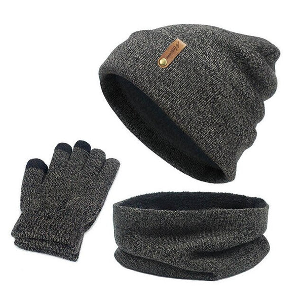 Unisex Beanies Hat Ring Scarf Gloves Set Winter Knitted Thick Warm Cap Women Men Solid Retro Beanie Hat Soft Touch Screen Gloves