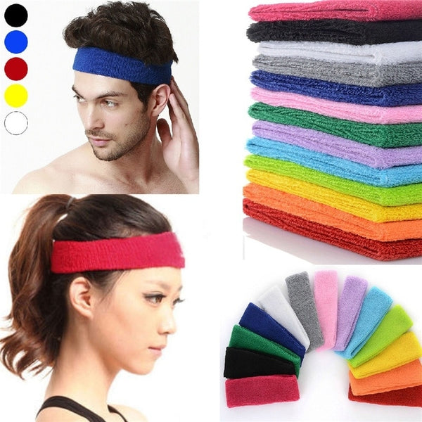 Unisex Sport Cotton Sweatband Headband for Men Women Yoga Hairband Gym Stretch Head Bands Sweatband Strong Elastic