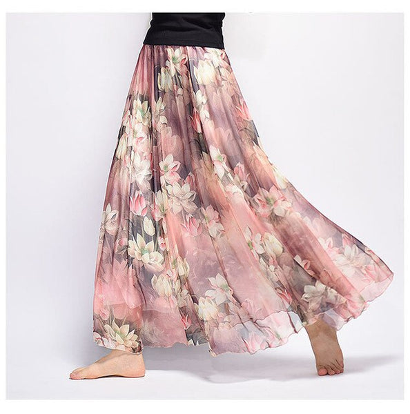 Uwback Women Chiffon Skirt Floral Floor Length Women Long Maxi Skirts Loose Boho Beach Skirt - New Summer Fashion Wear, EB129