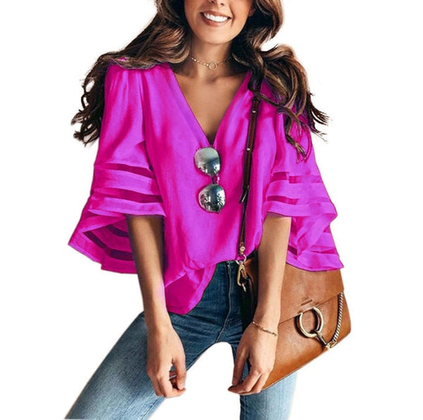 V Neck Flared Sleeves Mesh Patchwork Shirts Summer Plus Size Casual Loose Mesh Women Blouse Pink Street Womens Tops Blouses 5XL