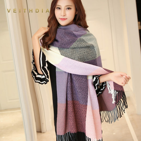 VEITHDIA Autumn Winter Female Wool Scarf Women Cashmere Scarves Wide Lattices Long Shawl Wrap Blanket Warm Tippet wholesale