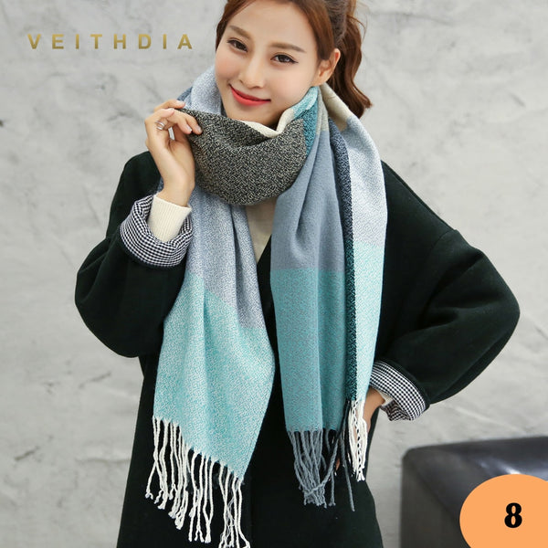 VEITHDIA Hot Autumn Winter Female Wool Scarf Women Cashmere Scarves Wide Lattices Long Shawl Wrap Blanket Warm Tippet wholesale