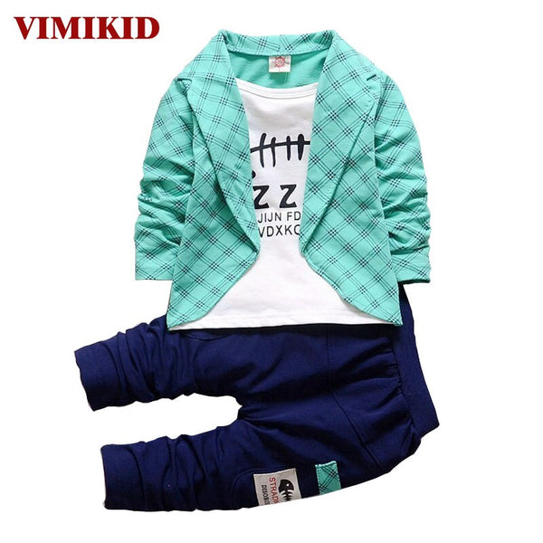 VIMIKID  Spring Autumn Toddler Baby Boy Formal Clothing Fashion Sets Newest Boys Clothes Suit 2PCS Children's Infant Clothes k1