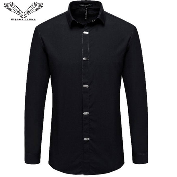 VISADA JAUNA Men's Shirts Autumn New Arrival British Style Casual Long Sleeve Solid Male Business Slim Fit Shirt 4XL N511