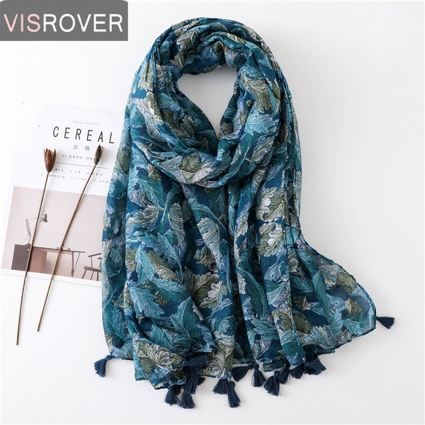 VISROVER Long Scarves Fashion Scarves Viscose Shaw Hijab Scarf Tropical Print Beach Dress Top Summer Scarf for Women Ladies