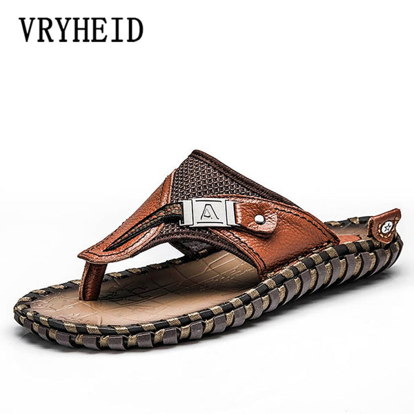 VRYHEID Brand Men's Flip Flops Genuine Leather Luxury Slippers Beach Casual Sandals Summer for Men Fashion Shoes New Big Size 48