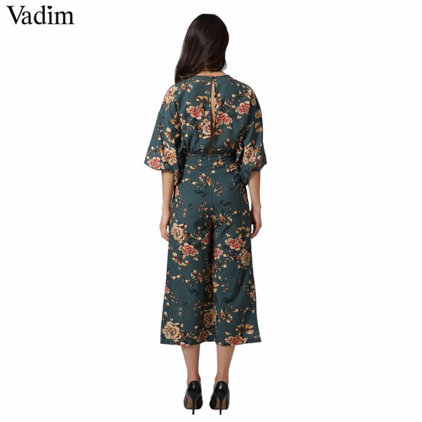 Vadim vintage floral V neck jumpsuits wide leg pants sashes backless pleated fashion rompers summer casual playsuits