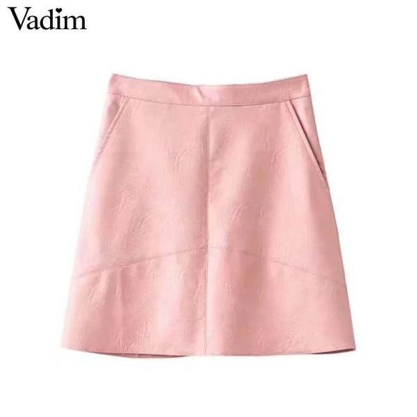 Vadim women basic solid PU leather skirts brief pockets back zipper faldas European style fashion streetwear mini skirts BSQ637