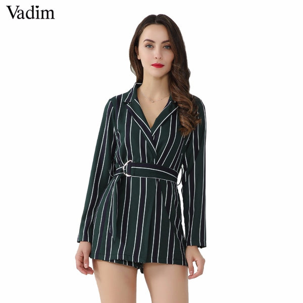 Vadim women chic striped playsuits bow tie sashes Notched collar office lady wear jumpsuits slim causal brand rompers KZ1128