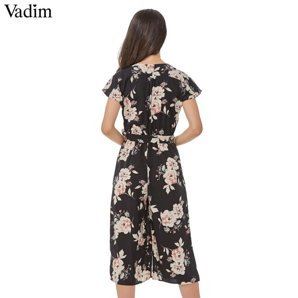 Vadim women vintage V neck floral jumpsuits wide leg pants sashes pleated elastic waist rompers summer casual playsuits