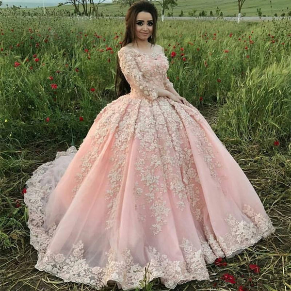 Vintage Pink Ball Gown Quinceanera Dresses Luxury Lace Appliqued Beads Sweet 16 Dress Vestidos 15 anos With Sleeves prom dress