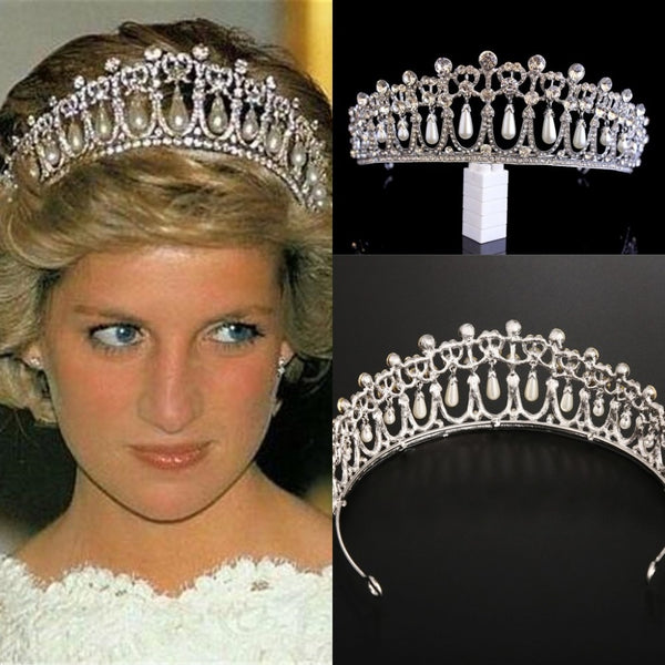 Vintage Silver Queen Princess Diana Crown Crystal Pearl Diadem For Bridal Hair Accessories Bride Tiara Headbands Tiara De Noiva