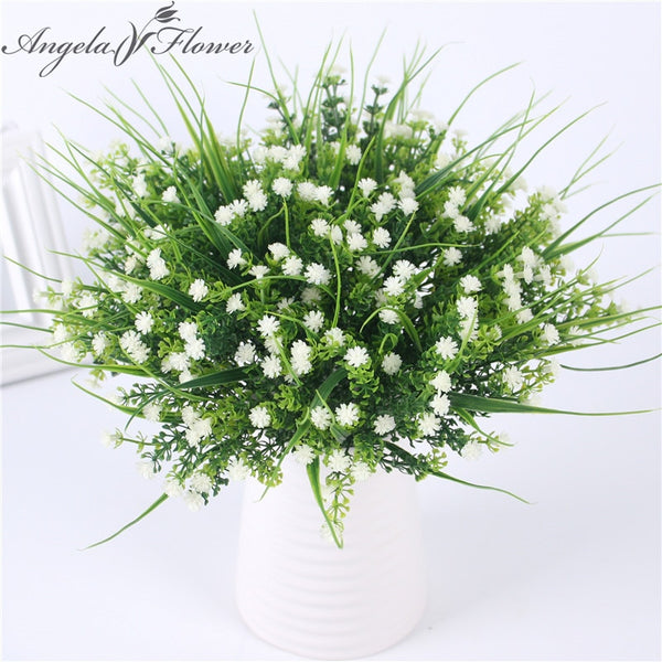 Vivid P.tenuiflora Green plastic Grass plants artificial flower babysbreath  wedding home Christmas decor party office flower