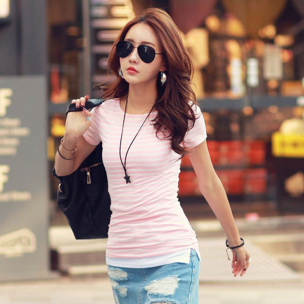 Volocean Cotton T-shirt Striped Classic Bottom T-shirts For Women Colorful T Shirt Woman Plus Size Female Top Tee 5XL
