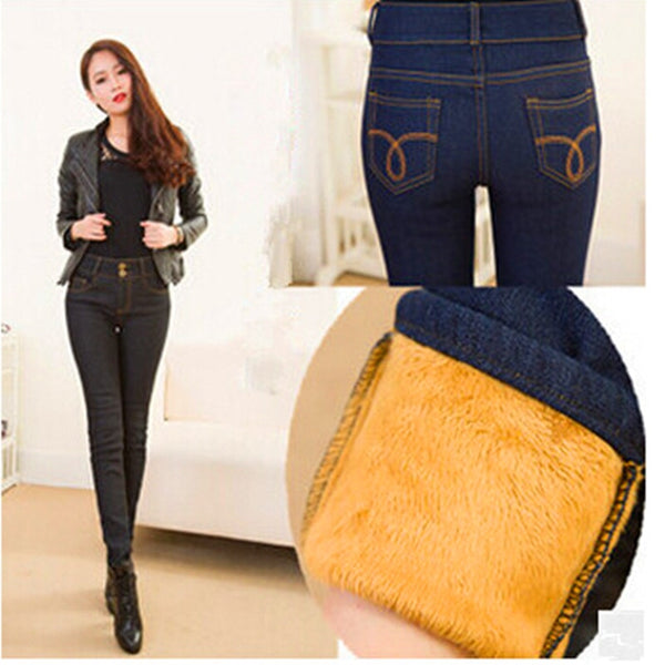 WKOUD Winter Jeans Women Gold Fleeces Inside Thickening Denim Pants High Waist Warm Trousers Female Snow Jeans Pants P8018