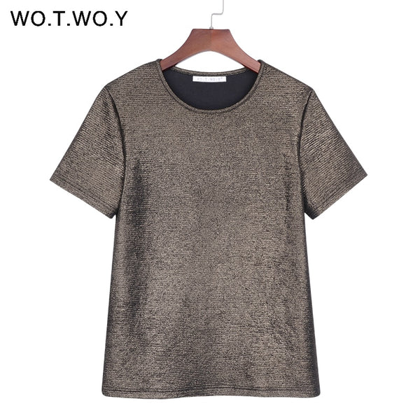 WOTWOY Summer Shiny Lurex Tops Women Basic T-Shirt Casual O-Neck Tee Shirt Woman Solid Cotton T Shirt Short Sleeve Elastic 2017
