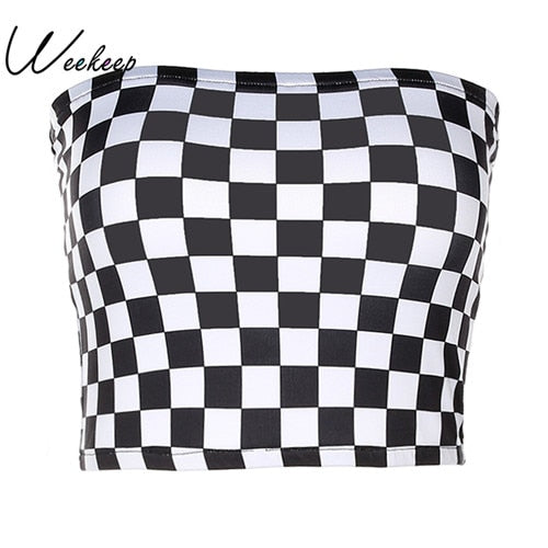 Weekeep Women Black And White Plaid Sexy Strapless Tube Top Fashion Checkboard Cropped Bandeau Tops Underwear Bras