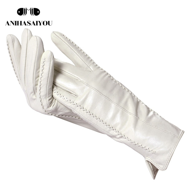 White leather women's gloves, Genuine Leather, cotton lining warm, Fashion leather gloves, leather gloves warm winter-2226