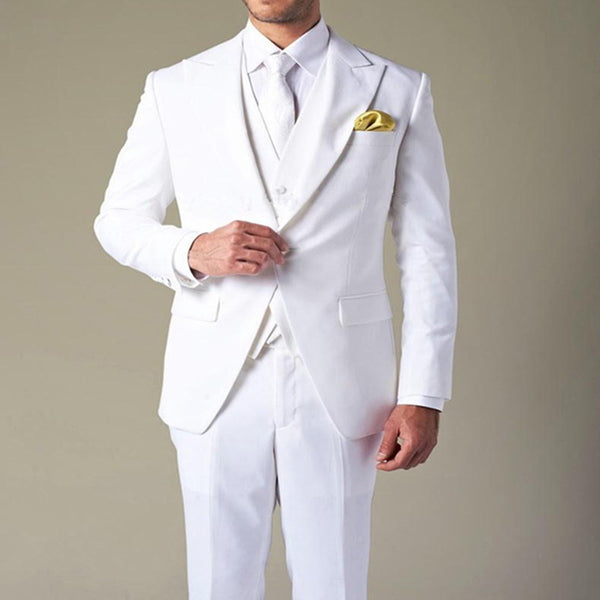 Wholesale costume homme White Groom's Wear Peak Lapel Wedding Tuxedo Suits For Men 3 Peices men suit (Jacket+Pants+Vest)