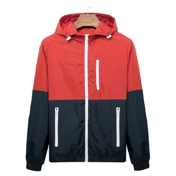Windbreaker Men Casual Spring Autumn Lightweight Jacket New Arrival Hooded Contrast Color Zipper up Jackets Outwear Cheap