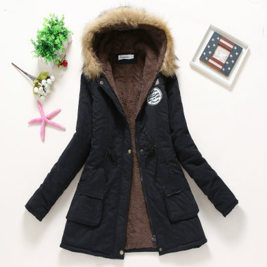 Winter Coat Women New Parka Casual Outwear Military Hooded Thickening Cotton Coat Winter Jacket Women Fur Clothes CC001