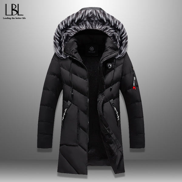 Winter Parka Men's Solid Jacket New Arrival Thick Warm Coat Long Hooded Jacket Fur Collar Windproof Padded Coat Fashion Men