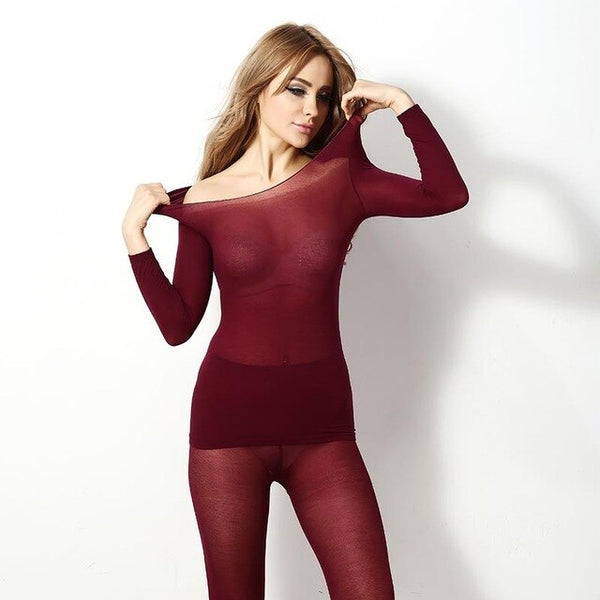Winter Thermal Women Set 37 Degree Constant Temperature Thermal Clothes Women Ultrathin Warm Two Pieces Set Ensemble Femme