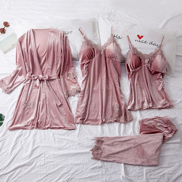 Winter Velvet Pajamas Set for Women Soft Keep Warm Sexy Sleepwear PJs 4PCs Full Sleeve Strap Nightgown Bath Robe Lingerie Suit