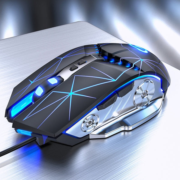Wired Gaming Mouse 3200DPI Breathing LED E-Sports Mechanical Mute Silent Mouse Gamer Mice Optical Sens for Laptop Computer
