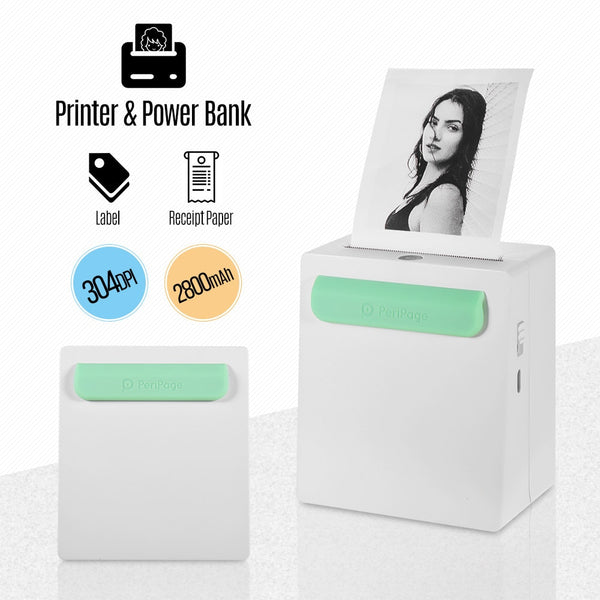 Wireless Bluetooth Portable Photo Printer PeriPage A8 Power Bank Mini Pocket Picture Printer Photo Memo Sticker Creative Gift