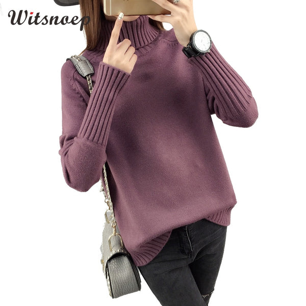 Witsnoep Thick Warm Turtleneck Sweater Women Autumn Winter Tricot Jumper Women Sweaters And Pullovers Female Knitted Tops