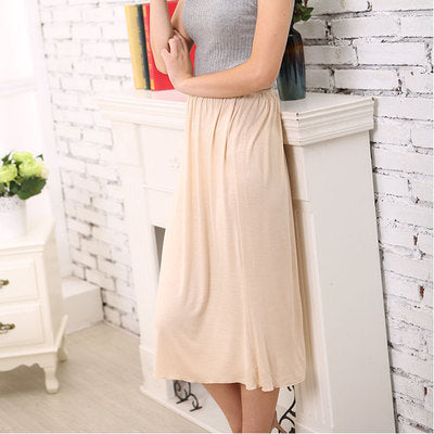 Woman Half Slips Modal Solid Skirt Petticoat Knee Length dress Lady Underskirts Vestidos Summer Cheap Skirts Underdress Summer