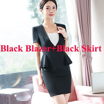 Women RUFFLES skirt suits Office Lady Summer Slim Blazers With Skirt Two Piece Set Business work Skirt Suits