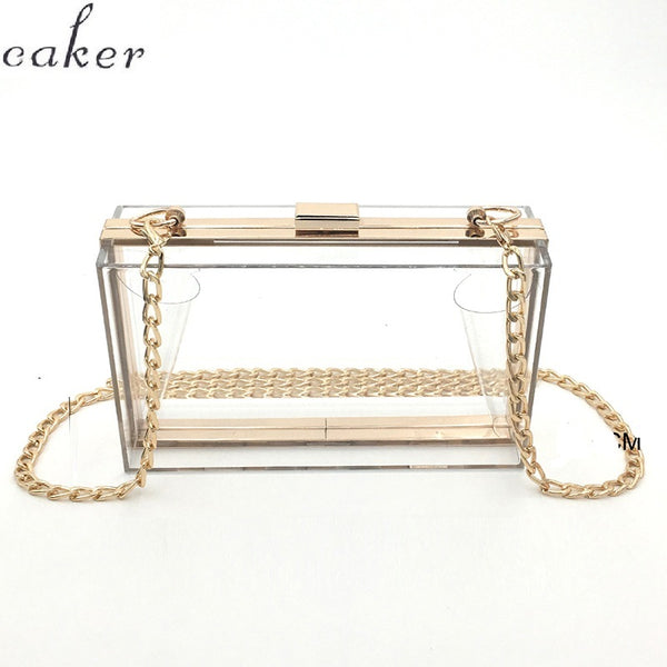 Women Acrylic Clear Transparent Crossbody Purse PVC Bag Sport Events Stadium Approved Chain Strap Gold/Silver