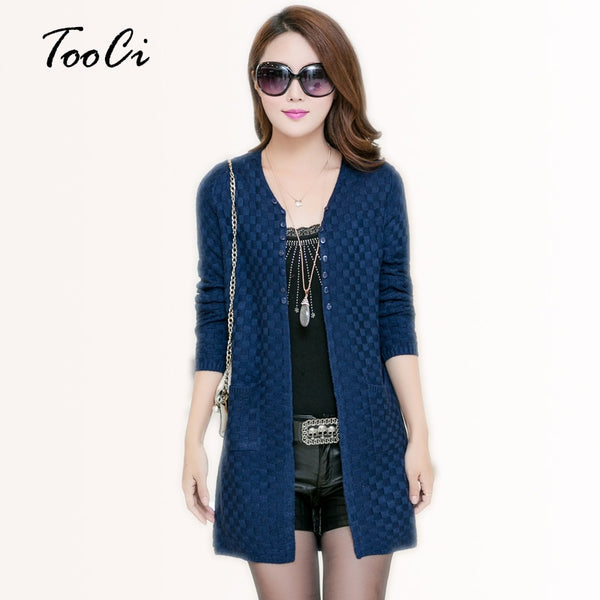 Women Autumn Cardigan With Pockets Women's Clothing Soft and Comfortable Coat Knitted V-Neck Long Cardigan Female Sweater Jacket