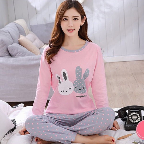 Women Autumn Winter Pajamas Set Cartoon Printed Long-sleeved Three Cat Print O-neck Pajamas + Sleep Pants