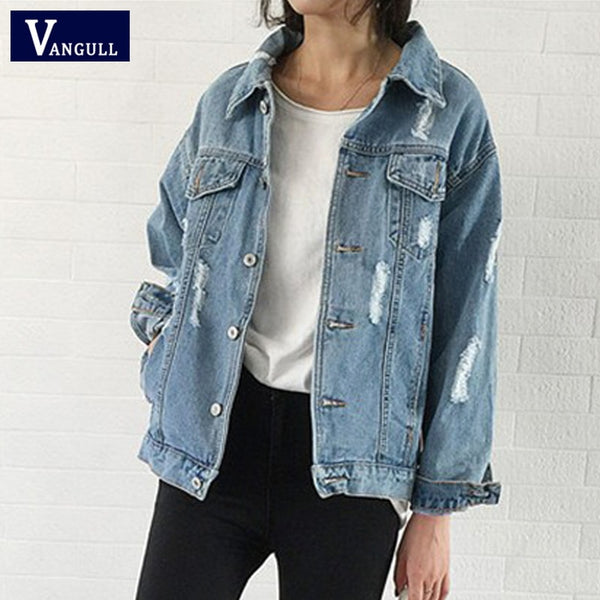 Women Basic Coat Hole Denim Jacket Spring Autumn Casual New Long Sleeve Jean Jacket Loose Fit style Solid Denim Coat