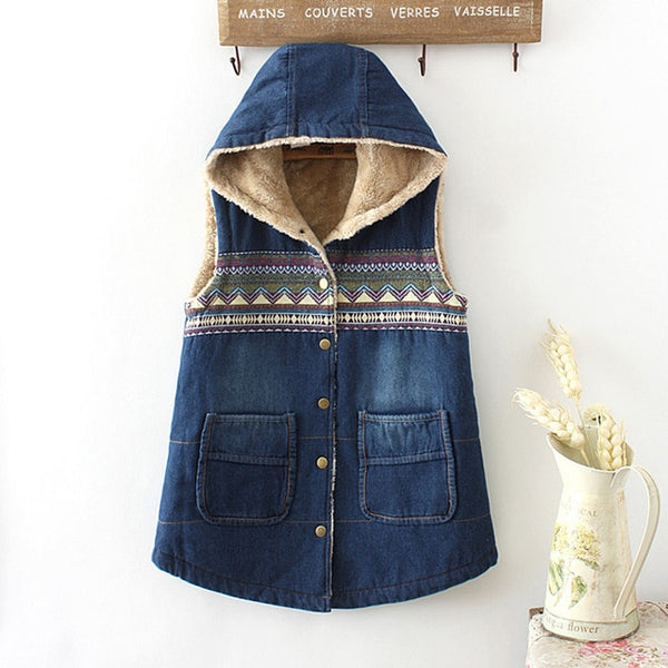 Women Denim Winter Coat - Casual Loose Print Patchwork Plus Velvet Thick Outerwear Tops Warm Long Denim Padded Jacket Female