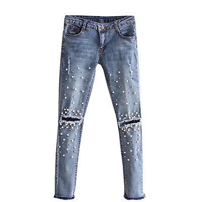 Women Fashion Destroyed Ripped Blue Jeans pearled Slim Denim Pants Boyfriend Jeans New Woman  Trousers