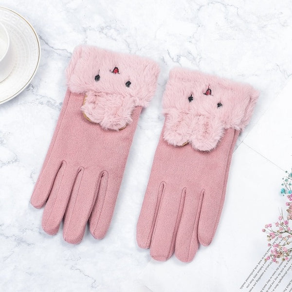 Women Gloves Winter Touch Screen  Female Suede Furry Warm Full Finger Gloves Lady Winter Outdoor Sport Driving Women Gloves