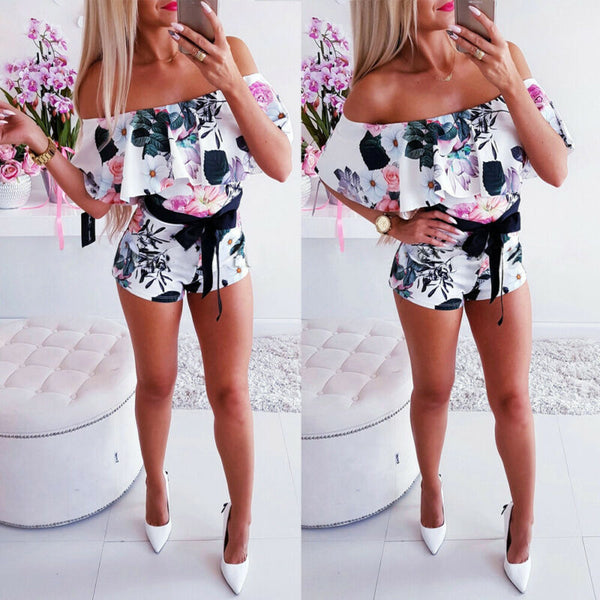 Women Holiday Off Shoulder Mini Playsuit Summer Shorts Jumpsuit Beach Dress