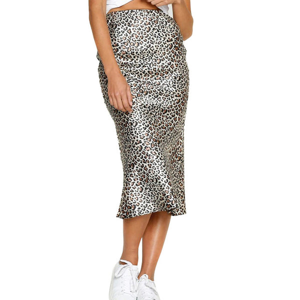 Women Leopard Print Skirts High Waist Bodycon Slim Fit Midi Skirts for Summer  Popular