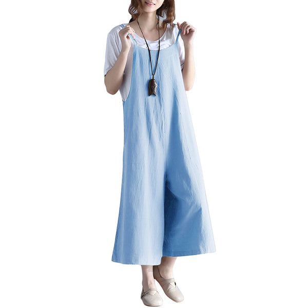 Women Loose Suspender Trousers Solid Color Casual Overalls Jumpsuit Female Wide Leg Long Pants Pockets Playsuit Autumn Rompers