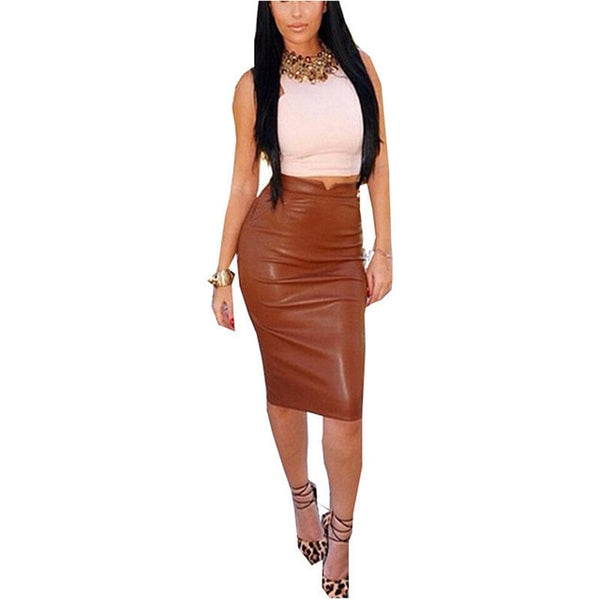 Women PU Leather Long Skirt Solid Color High Waist Slim Hip Pencil Skirts Vintage Bodycon Skirt Sexy Clubwear IU861775