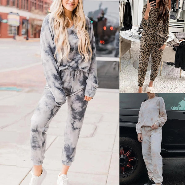 Women Pyjama Set  Autumn Winter Loungewear Tie-dye Home Wear Lounge Set Homewear Women Long Sleeve Lounge Wear Sleepwear